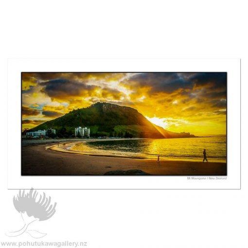 Kirk O'Donoghue Shadow Board Print - Mount Sunset, Mt Maunganui, NZ Beach Photo Art, New Zealand