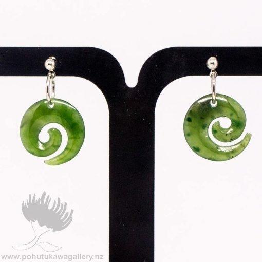 New Zealand Greenstone Earrings Koru