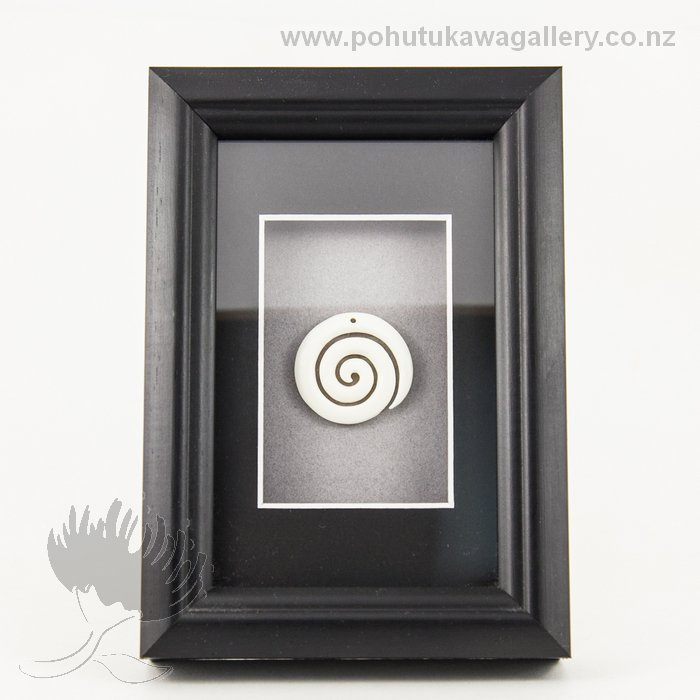 Framed Bone Carving Koru Pohutukawa Gallery