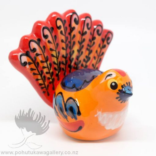 Splashy fantail ceramic orange