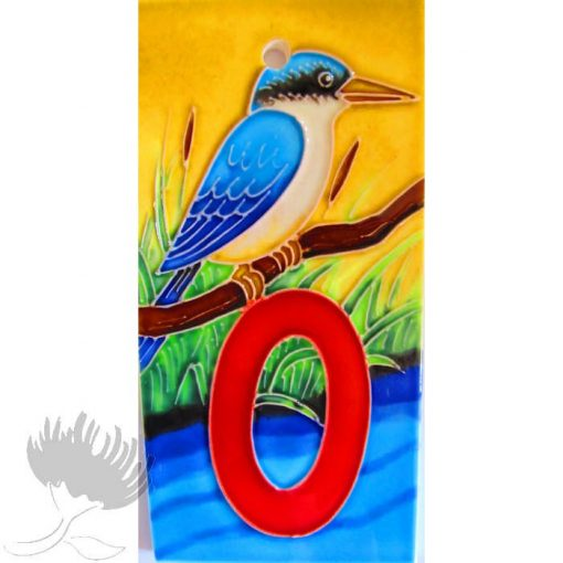 Letterbox tiles number and letters ceramic NZ Birds