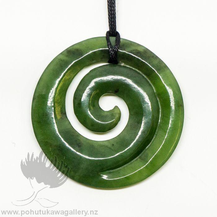 Nz greenstone pendant large spiral koru pohutukawa gallery aloadofball Images