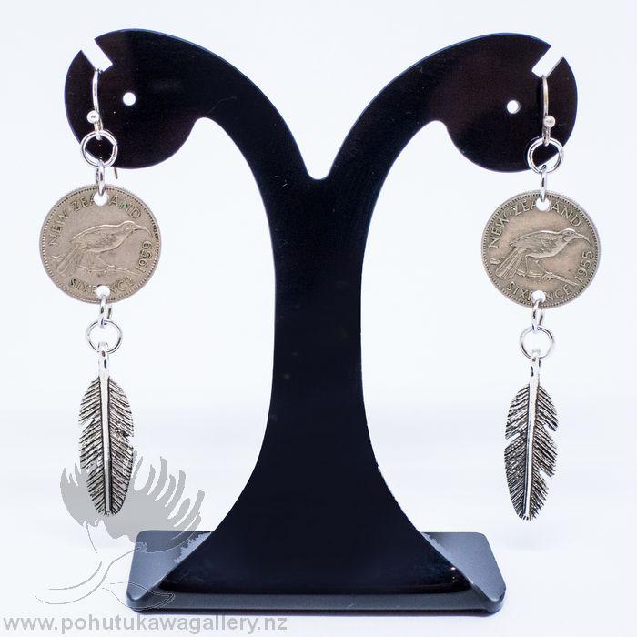 new zealand coin earrings huia