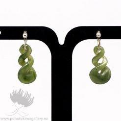 New Zealand Greenstone EarringsTwist
