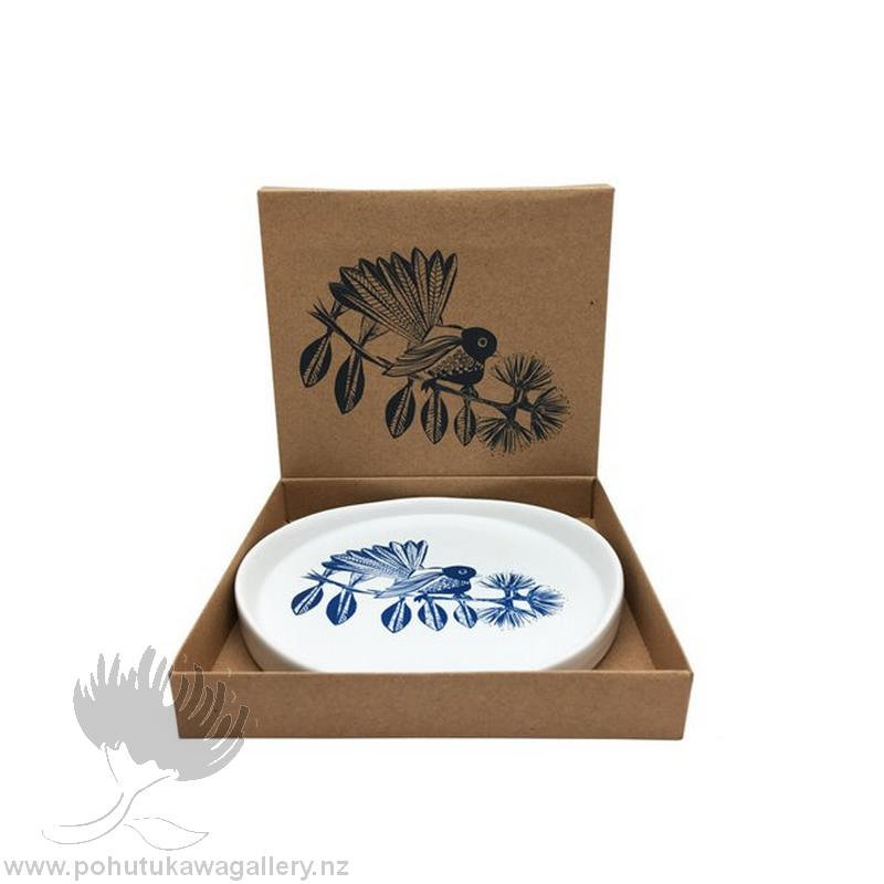 new zealand fantail porcelain dish