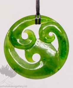 New Zealand Greenstone Pendant Triple Koru