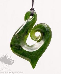 New Zealand Greenstone Pendant Koru Hook