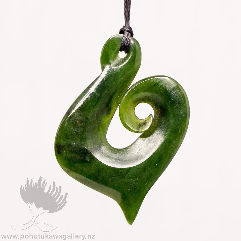 New Zealand Greenstone Pendant Koru Hook