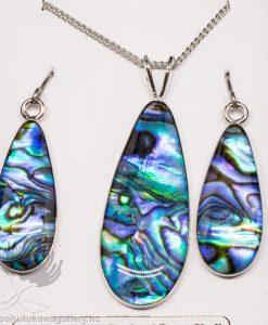 New Zealand Made Paua Shell Earrings and Pendant Set