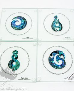 New Zealand Made Glass Coaster Set Paua Shell