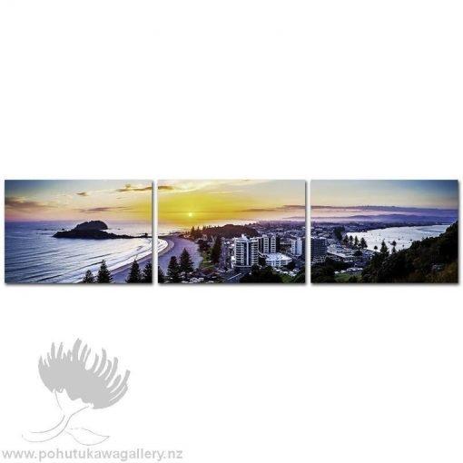 Pano Kirk O'Donoghue Canvas Print Triple - Mount Sunrise Mt Maunganui NZ New Zealand