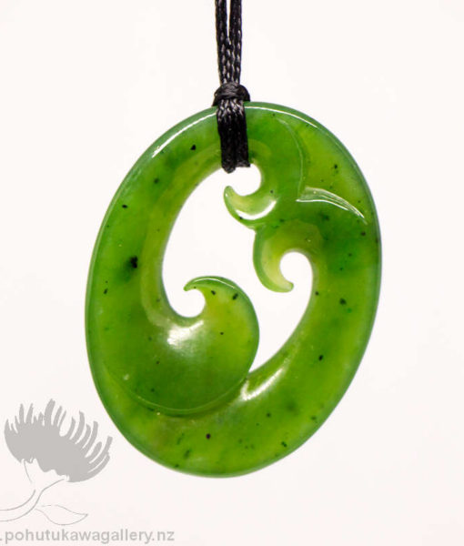 New Zealand Greenstone Triple Koru Pendant