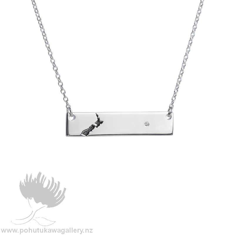 3N31001 NZ Map Bar Necklace Evolve Jewellery
