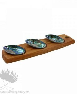 New Zealand Rimu Paua Shell Serving Set