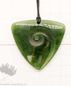 New Zealand Greenstone Pendant Triangle Koru