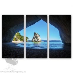 Kirk O'Donoghue Canvas Print - Cathedral Cove New Zealand NZ - Triple