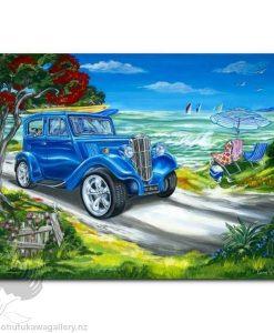 Caren Glazier Print Summer Holidays Blue Ride