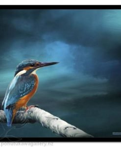 Kingy On Watch by Julian Hindson - Art Prints New Zealand Kingfisher NZ