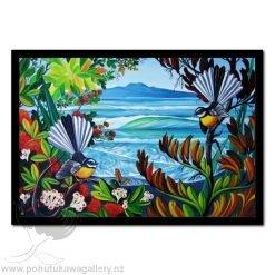 Rangitoto And Fantails by Irina Velman - Art Prints New Zealand