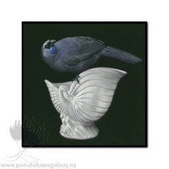 Kokako On Crown Lynn by Jane Crisp - Art Prints New Zealand