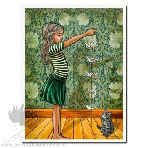Origami Birds by Mandy Williams - Cat NZ Art Prints New Zealand