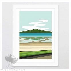 glenn-jones-art-art-print-a4-print-white-frame-rangitoto-art-print