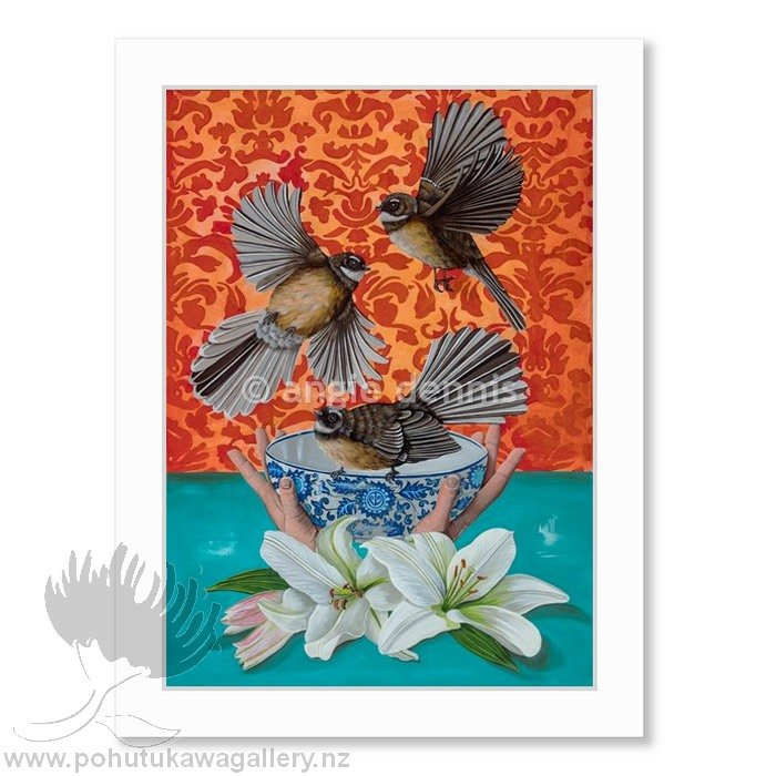 Angie Dennis NZ Art Prints Fantails With Love