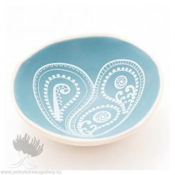 Porcelain bowl new zealand ceramics NZ Fern Koru Heart