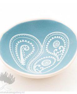 Porcelain bowl new zealand ceramics NZ Fern Koru Heart