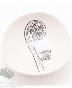 Porcelain bowl new zealand ceramics Fern Frond NZ
