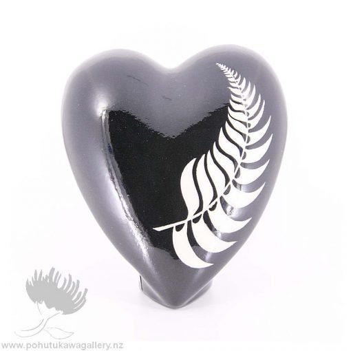 new zealand handmade ceramic heart fern design
