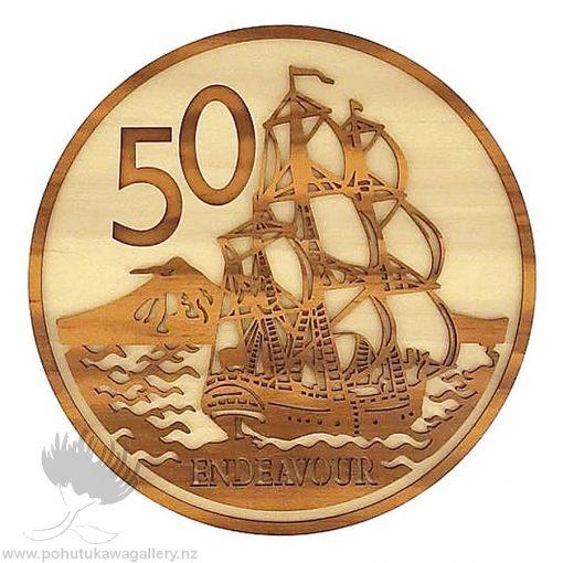 50 Cent Coin NZ wall art gift