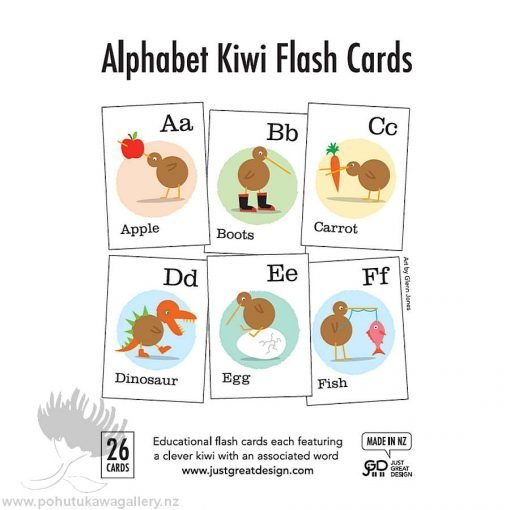 Alphabet Kiwi Flash Cards – Designed by NZ Artist Glenn Jones