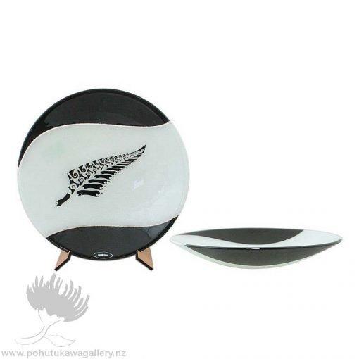 maori boy glass bowl ponga fern