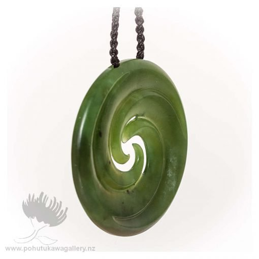 NZ Greenstone Pendant by Darren Stowe - Triple Spiral 1