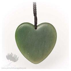 NZ Greenstone Pendant by Darren Stowe - Heart