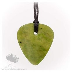 NZ Greenstone Pendant by Darren Stowe - Guitar Pick