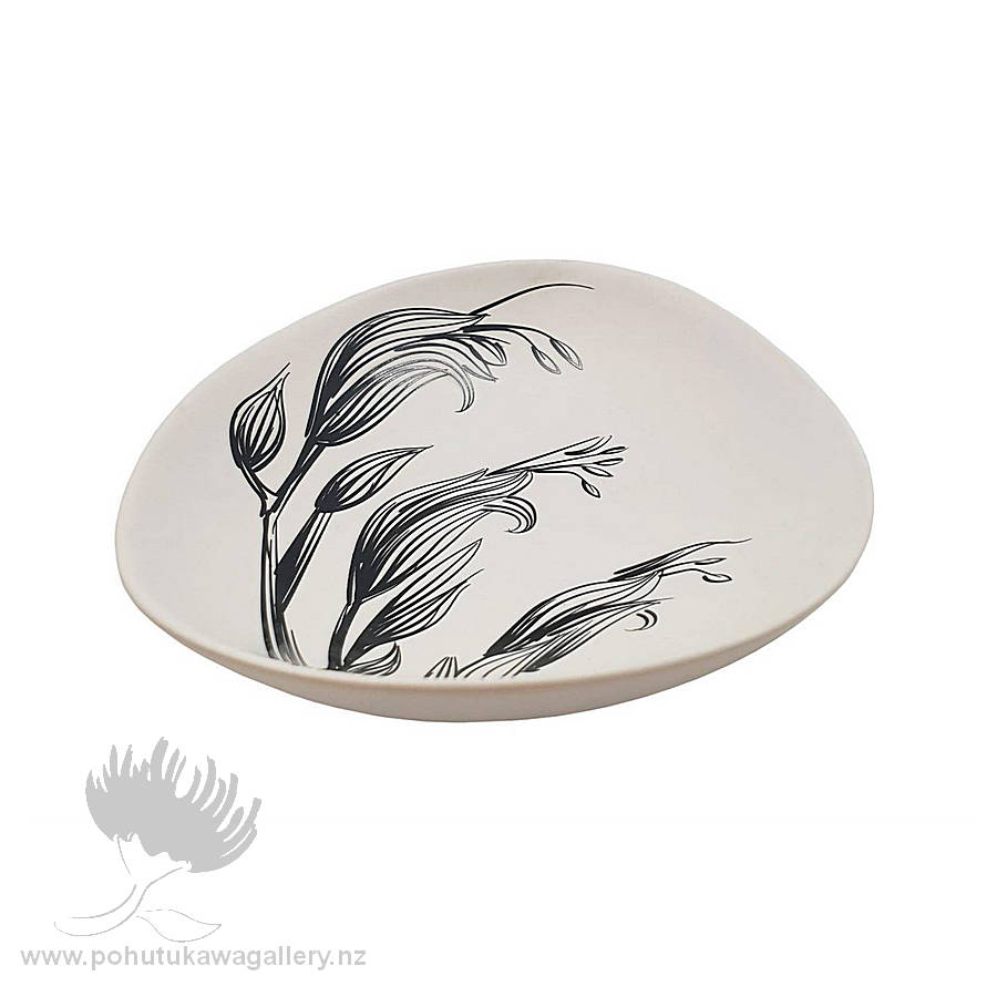 Jo Luping Design - Black Flax Flower On White