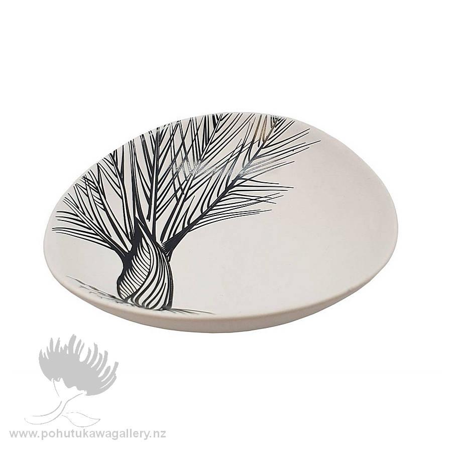 Jo Luping Design - Black Nikau Detail On White