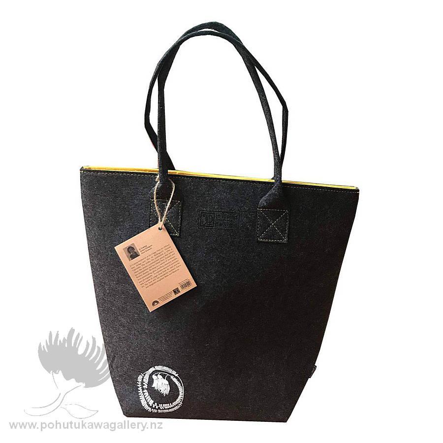 Kowhai Yellow & Grey - Shoulder Tote Bag