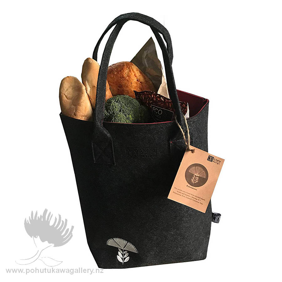 Pohutukawa Red & Grey - Shoulder Tote Bag