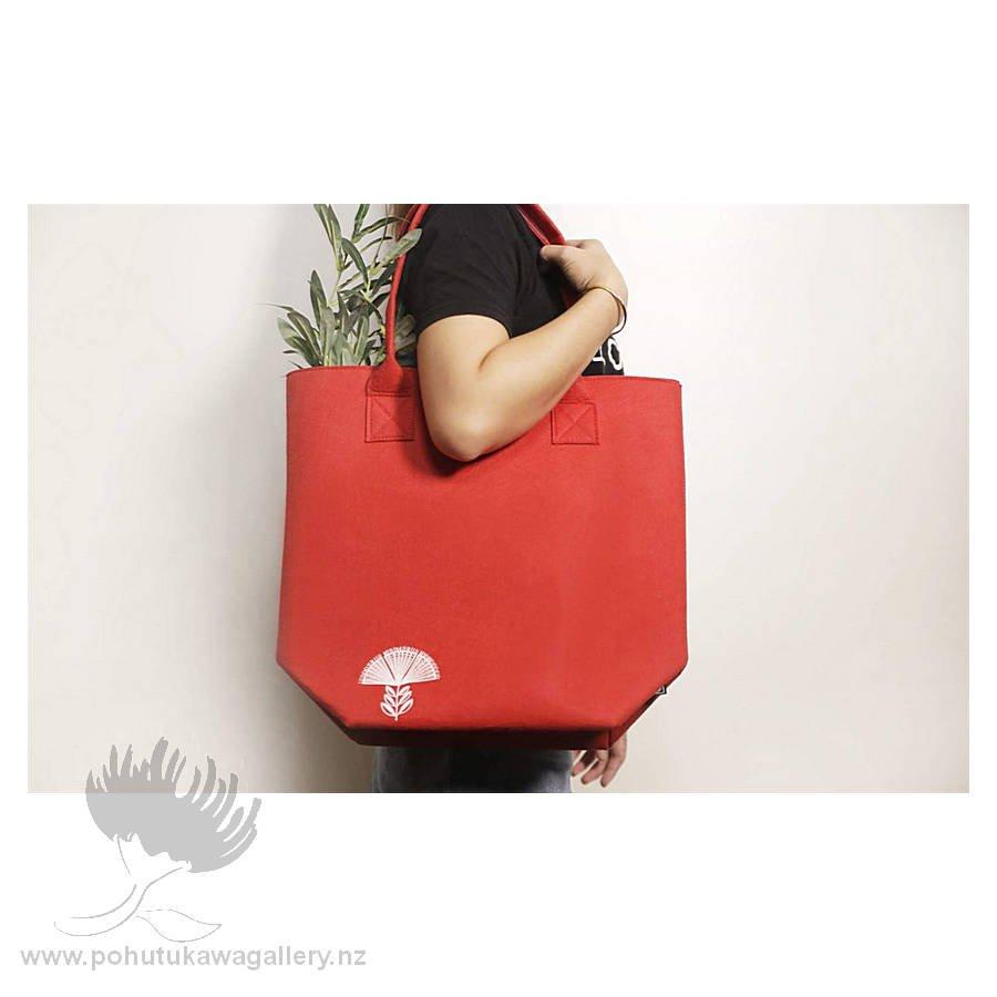 Pohutukawa Red & Teal - Shoulder Tote Bag