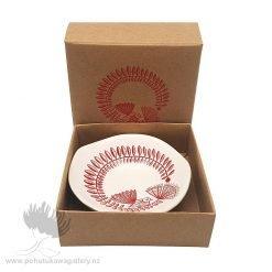 Red Fantail & Pohutukawa On White