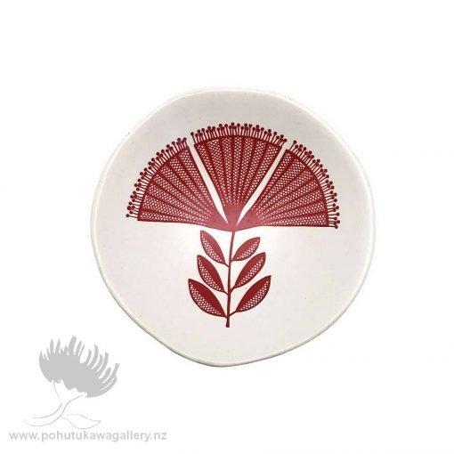 Red Pohutukawa Lace On White