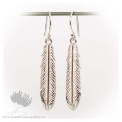 Earrings Fantail Feather Polished