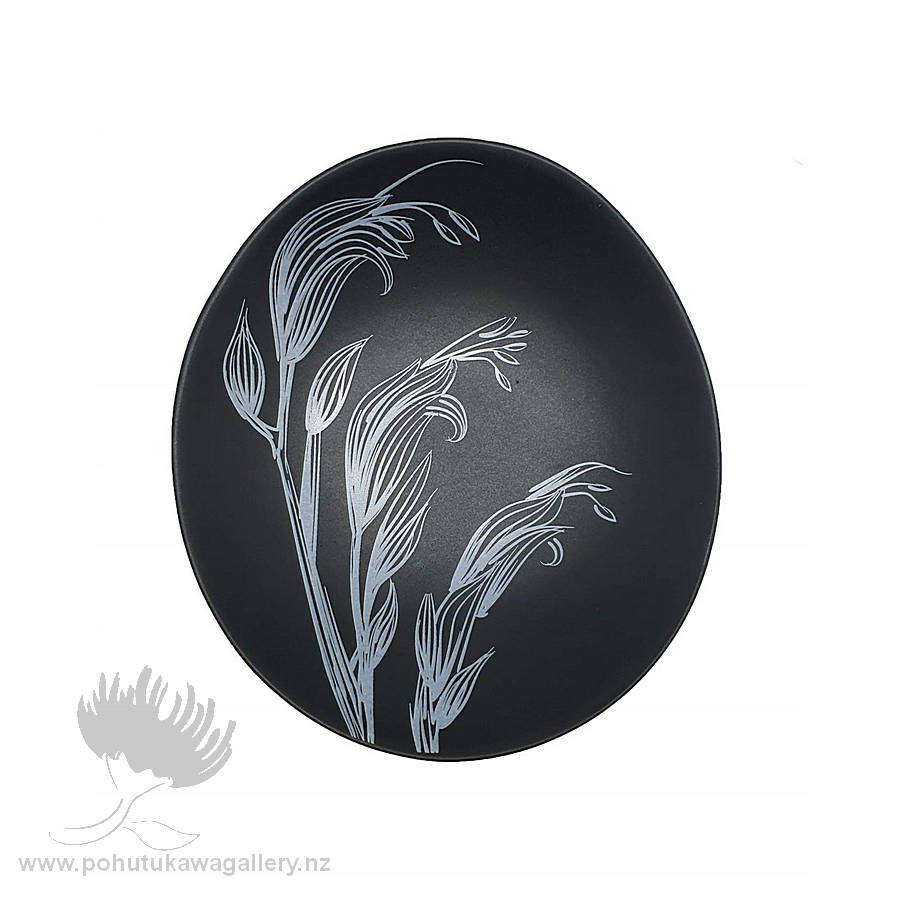 Jo Luping Design - White Flax Flower On Black