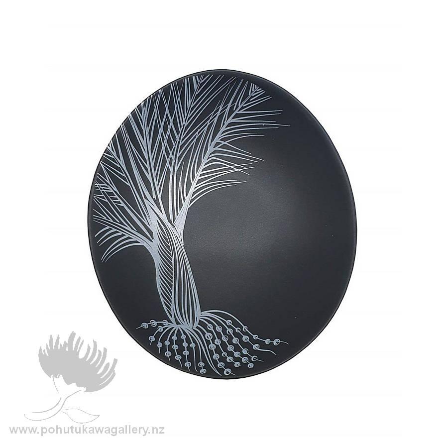 Jo Luping Design - White Nikau Detail On Black