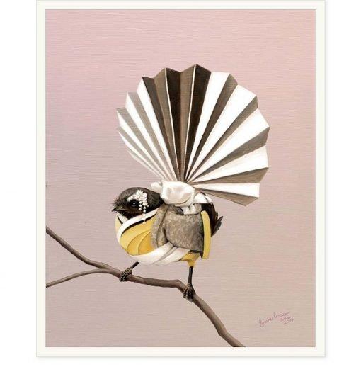 NZ Fantail Geisha by Bonnie Fraser - Art Prints New Zealand