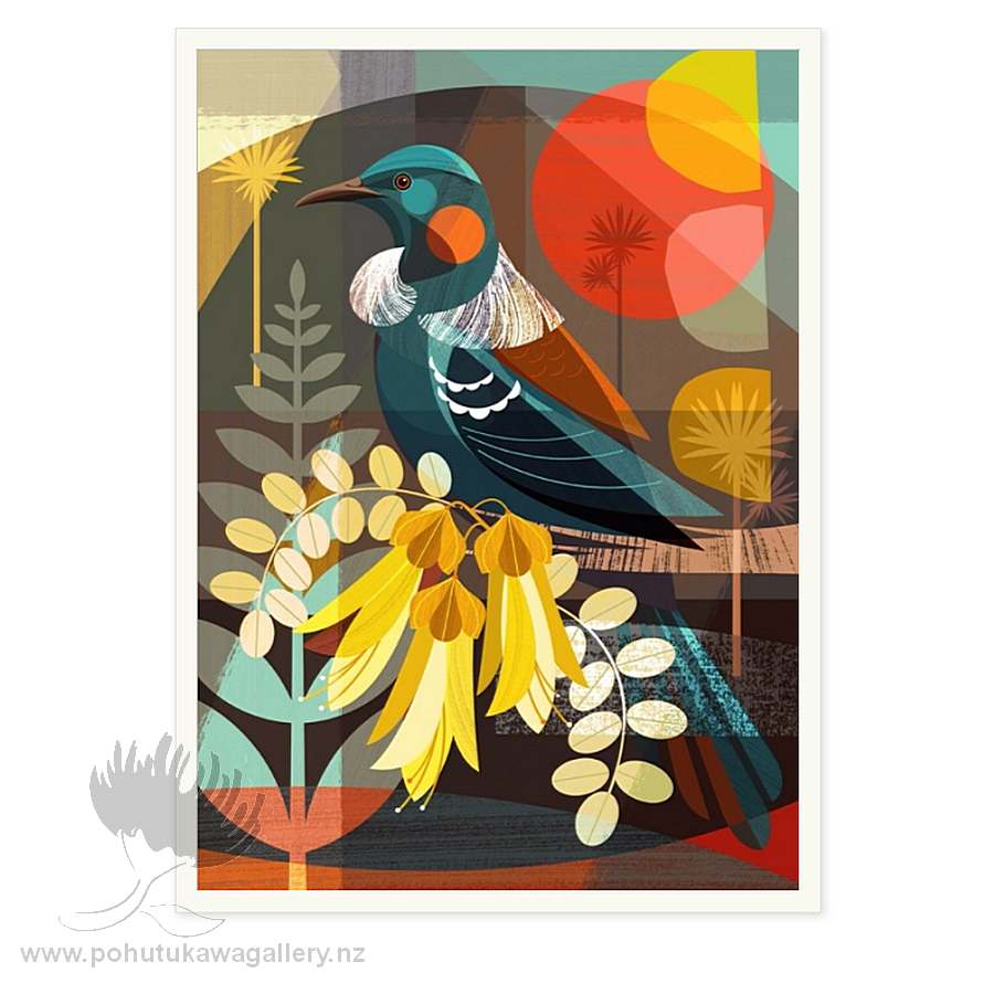 NZ Tui And Kowhai Flowers by Ellen Giggenbach - Art Prints New Zealand
