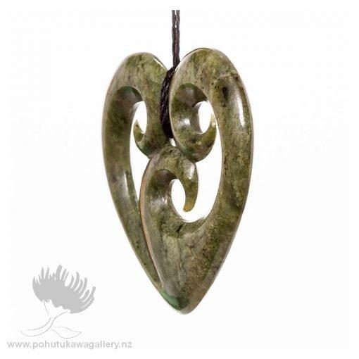 NZ pounamu Greenstone necklace HEART KORU